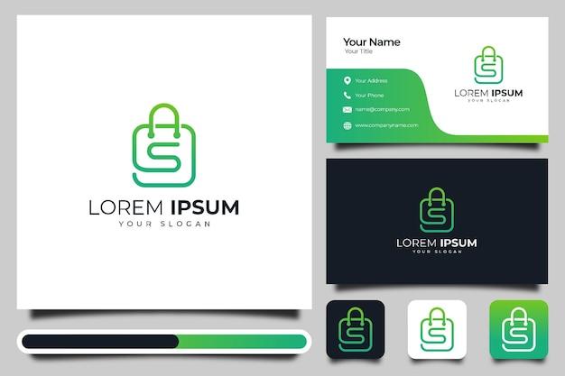Letra s con diseño creativo de logotipo de bolsa y plantilla de tarjeta de visita