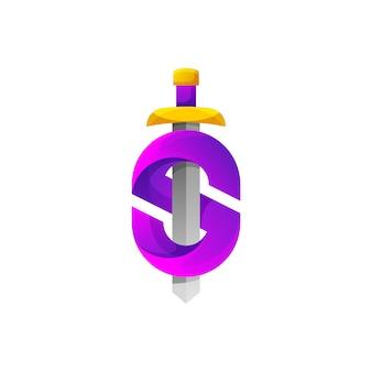 Letra s espada diseño de logotipo degradado