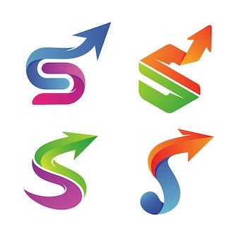 Letra s con flecha conjunto colección logo vector