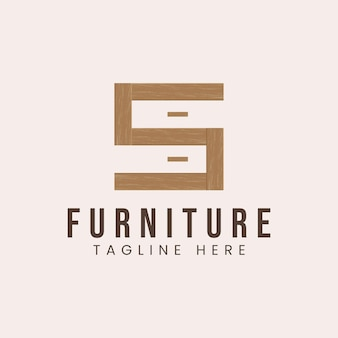 Letra s con inspiración de diseño de logotipo de concepto de muebles de madera