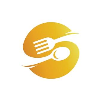 Letra s con el logotipo de cuchara y tenedor, logotipo de vajilla, logotipo de restaurante de comida rápida
