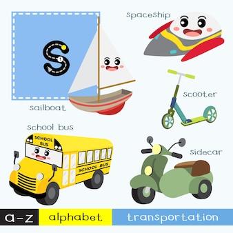 Letra s minúscula trazando el vocabulario de transportes