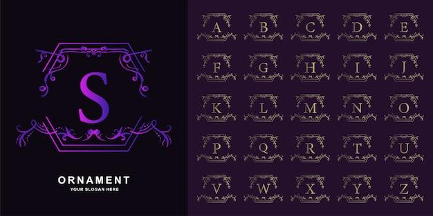 Letra s o alfabeto inicial de colección con plantilla de logotipo dorado de marco floral de adorno de lujo.