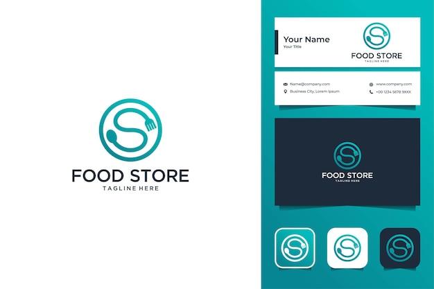 Letra s con tenedor y cuchara, diseño de logotipo de comida y tarjeta de visita