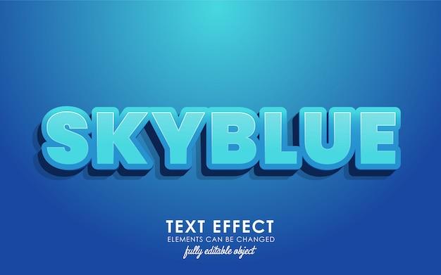Letra skyblue con efecto de texto detallado con diseño moderno en 3d y un bonito tema azul
