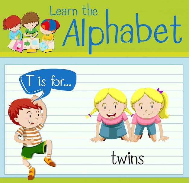 La letra t de flashcard es para gemelos