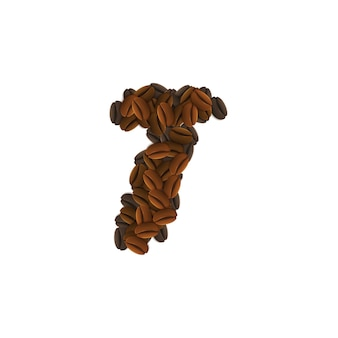Letra t de granos de café