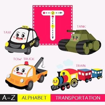 Letra t mayúscula trazando el vocabulario de transportes