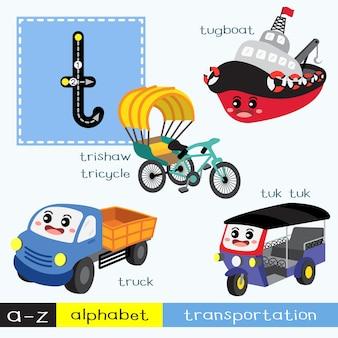 Letra t minúscula trazando el vocabulario de transportes