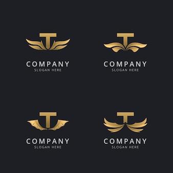 Letra t con plantilla de logotipo de ala abstracta de lujo