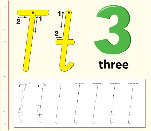 Letra t trazando las hojas del alfabeto