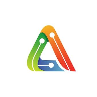 Letra a tech logo vector
