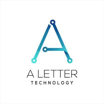 Letra a tecnología logo colorido degradado abstracto