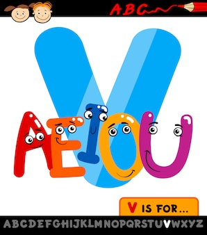 Letra v con ilustración de dibujos animados de vocales