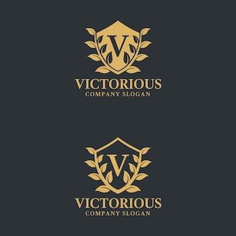 Letra v - plantilla de logotipo victorioso