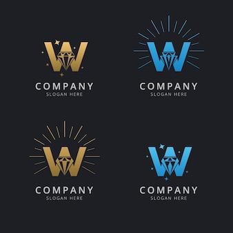 Letra w con plantilla de logotipo de diamante abstracto de lujo