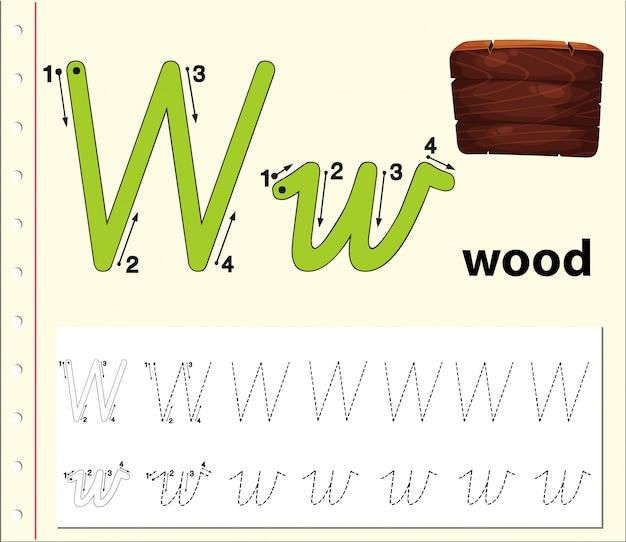 Letra w trazando hojas de ejercicios del abecedario