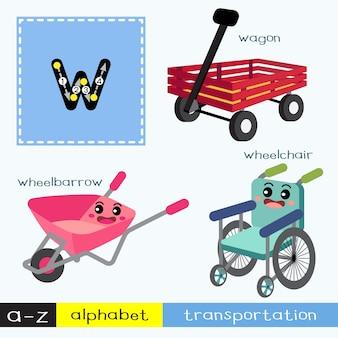 Letra w vocabulario de transportes de búsqueda en minúsculas