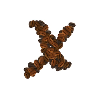 Letra x de granos de café