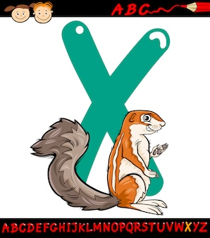 Letra x para la ilustración de dibujos animados xerus