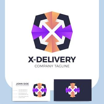 Letra x con el logotipo de servicio de transporte de mensajería de flecha