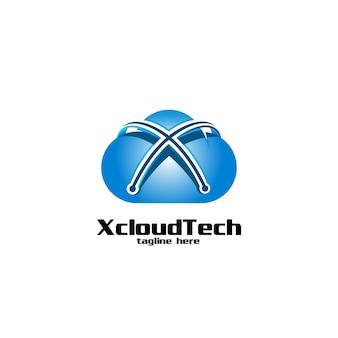Letra x de la nube y logotipo de la tecnología.