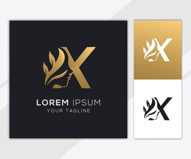 Letra x con plantilla de logotipo de belleza femenina natural de lujo