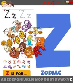 Letra z del alfabeto con los signos del zodíaco de dibujos animados