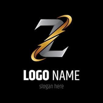 Letra z con plantilla de logotipo de trueno