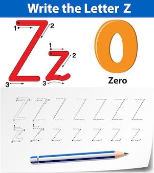 Letra z trazando hojas de ejercicios del abecedario