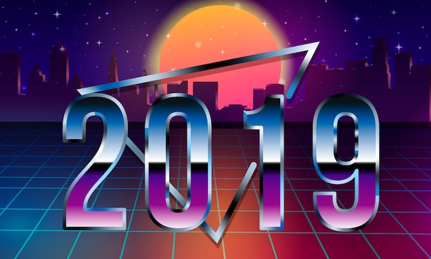 Letras de 2019 en los años 80. ilustración retro de onda retro del sintetizador futurista de ciencia ficción retro de los años 80.