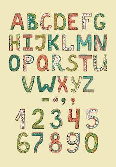 Letras de abs del alfabeto dibujado a mano con adornos decorativos de colores
