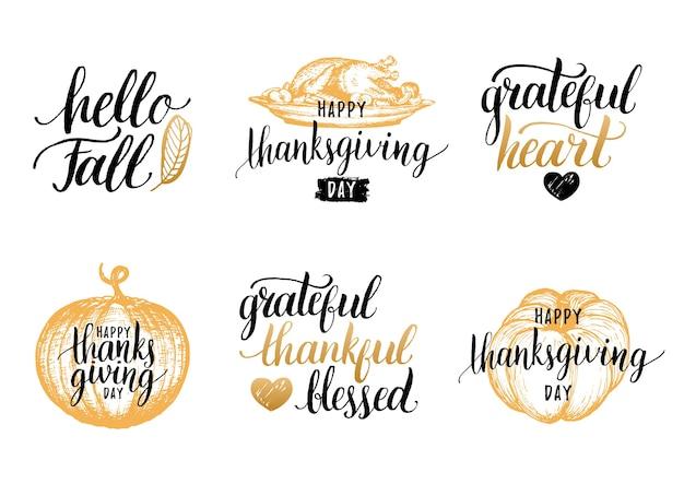 Letras de acción de gracias para invitaciones o tarjetas de felicitación festivas. conjunto de caligrafía manuscrita