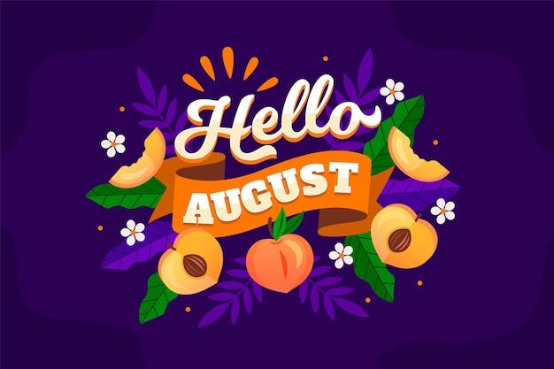 Letras de agosto dibujadas a mano con frutas