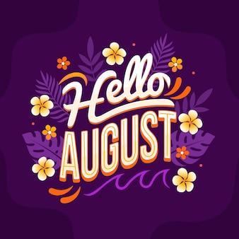 Letras de agosto florales dibujadas a mano
