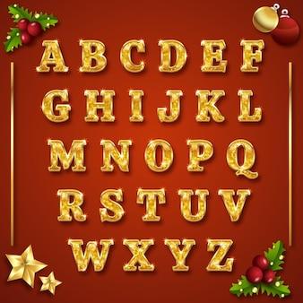 Letras alfabéticas doradas de navidad
