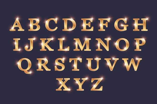 Letras alfabéticas navideñas doradas brillantes