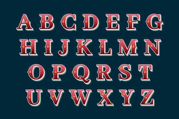 Letras alfabéticas navideñas en estilo vintage