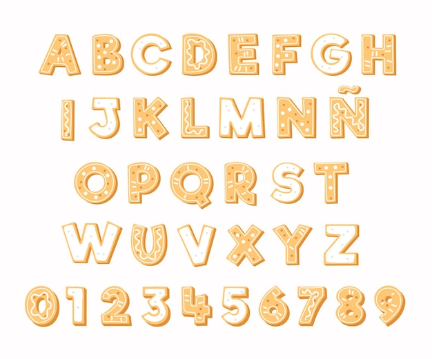 Letras alfabéticas navideñas de pan de jengibre