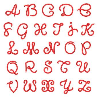 Letras del alfabeto de cordones de zapatos.
