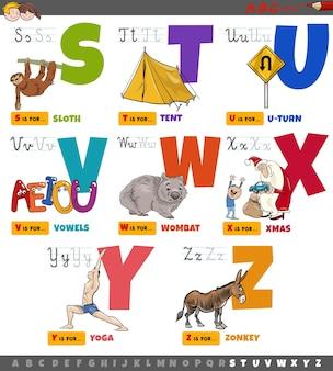 Letras del alfabeto de dibujos animados educativos para niños de la s a la z