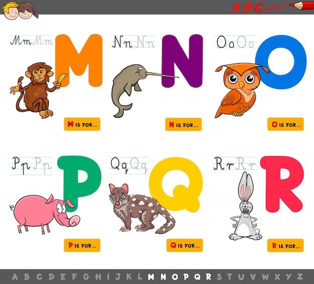 Letras del alfabeto educativo de dibujos animados para niños