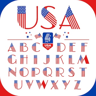 Las letras del alfabeto en estilo de estados unidos con la bandera americana. feliz 4 de julio.