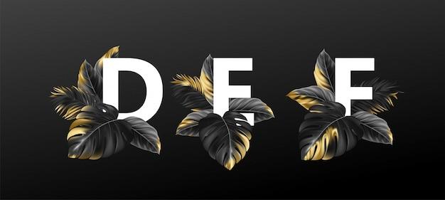 Letras del alfabeto con exóticas hojas tropicales de plantas.