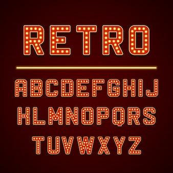 Letras del alfabeto letrero retro con bombillas lámparas