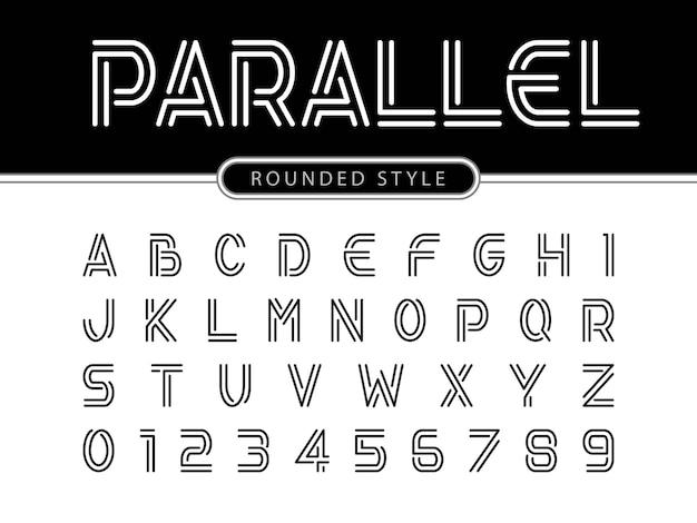 Letras del alfabeto moderno, líneas paralelas estilizadas fuentes redondeadas