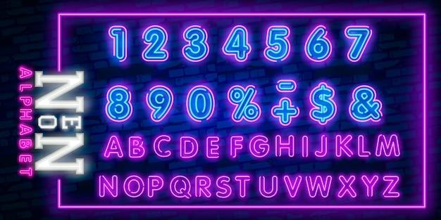 Letras del alfabeto de neón brillante