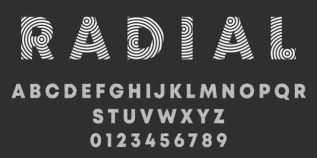 Letras del alfabeto y números de diseño radial. plantilla de fuente de líneas redondas.