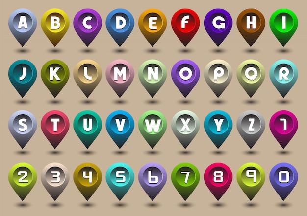 Letras del alfabeto y números en forma de iconos de gps