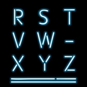 Letras del alfabeto de tubo de neón